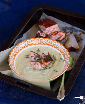Oven-baked Paprika Salmon + Cream of Leek and Potato Soup